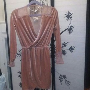 Pink Velvet and Lace Long Sleeved Dress